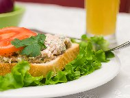 Рецепта Хумус / пастет с пушена скумрия, извара, майонеза, червен лук и чесън в блендер